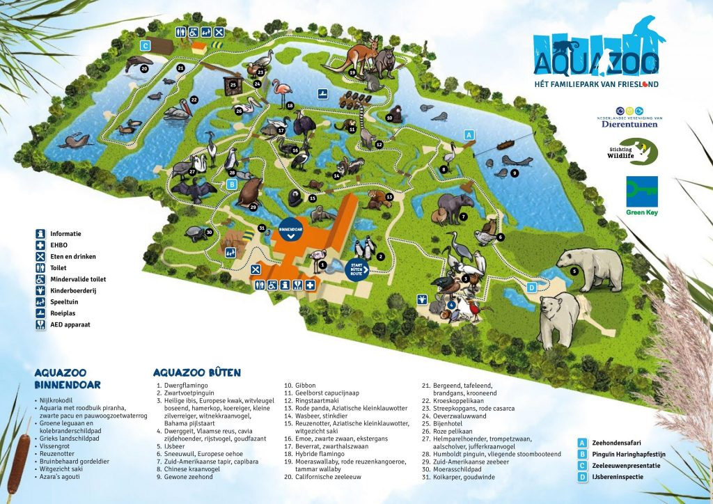 Bekijk de plattegrond van AquaZoo Friesland en zorg voor een spetterend dagje uit!